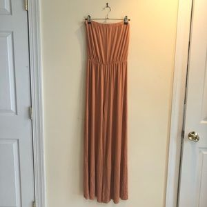 Don't Ask Why Tan/Camel Color Strapless Jumpsuit